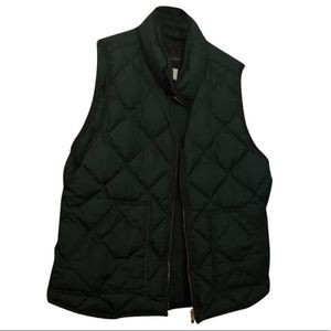 J Crew Green Quilted Down Puffer Vest Size 12 (L)